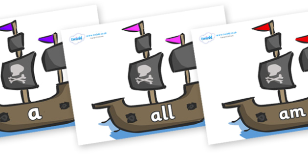 Foundation Stage 2 Keywords on Pirate Ships - FS2, CLL, keywords, Communication language and literacy,  Display, Key words, high frequency words, foundation stage literacy, DfES Letters and Sounds, Letters and Sounds, spelling
