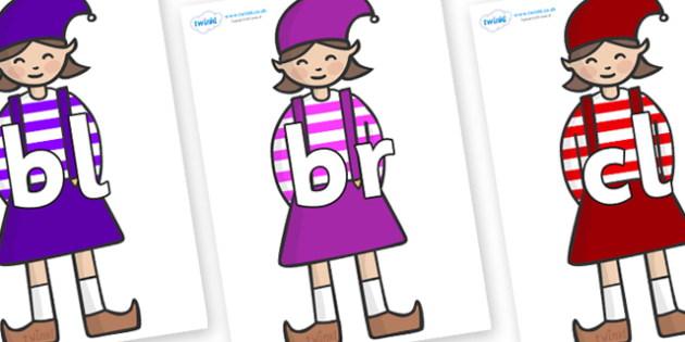 Initial Letter Blends on Elf (Girl) - Initial Letters, initial letter, letter blend, letter blends, consonant, consonants, digraph, trigraph, literacy, alphabet, letters, foundation stage literacy