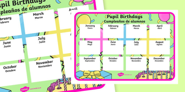 Pupil Birthday A4 Display Poster Spanish Translation - spanish, Classroom Organisation, pupil birthday, display poster, record, teacher planning