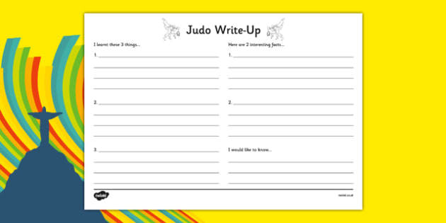 Rio 2016 Olympics Judo Write Up Worksheet - rio 2016, 2016 olympics, rio olympics, judo, write up
