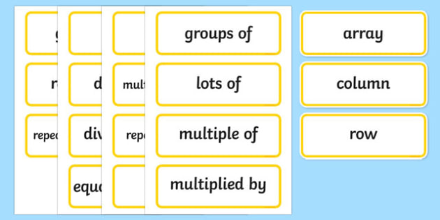 Year 2 2014 National Curriculum Multiplication and Division Vocabulary Card