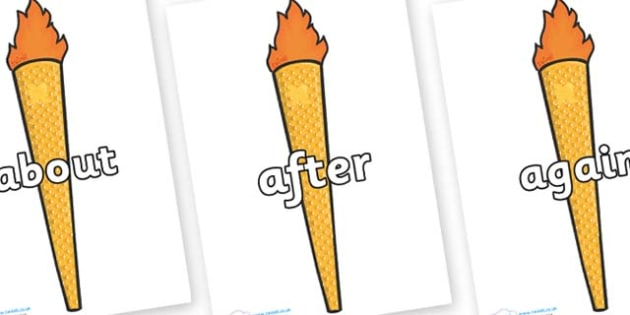 KS1 Keywords on Olympic Torches - KS1, CLL, Communication language and literacy, Display, Key words, high frequency words, foundation stage literacy, DfES Letters and Sounds, Letters and Sounds, spelling