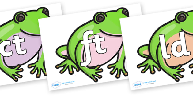 Final Letter Blends on Green Tree Frog - Final Letters, final letter, letter blend, letter blends, consonant, consonants, digraph, trigraph, literacy, alphabet, letters, foundation stage literacy