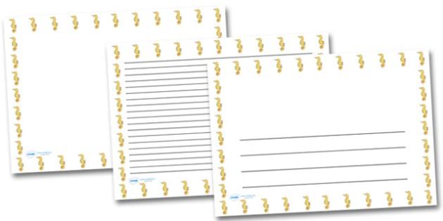 Seahorse Landscape Page Borders- Landscape Page Borders - Page border, border, writing template, writing aid, writing frame, a4 border, template, templates, landscape