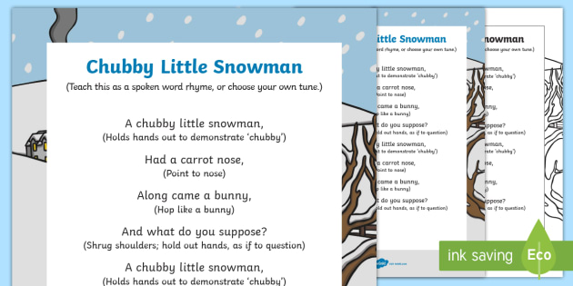picture regarding Chubby Little Snowman Poem Printable referred to as Over weight Minimal Snowman Phase Rhyme - obese minimal snowman