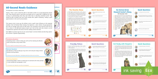 LKS2 60-Second Reads: Ancient Egypt Activity Pack - Ninety Words Per Minute, Speed Read, Sixty Second Reads, Assessment, Reading, Timed Reading