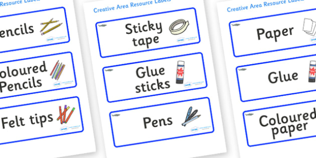 Shark Themed Editable Creative Area Resource Labels - Themed creative resource labels, Label template, Resource Label, Name Labels, Editable Labels, Drawer Labels, KS1 Labels, Foundation Labels, Foundation Stage Labels