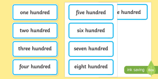 Multiples of 100 in Words - multiples, 100, words, maths, numeracy, numbers