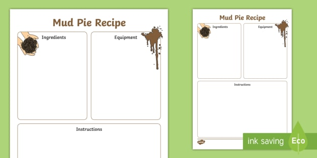 FREE! - Mud Pie Recipe Writing Frame - mud pie, recipe, writing frame