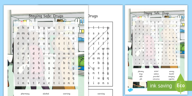 QLD Staying Safe: Drugs Word Search