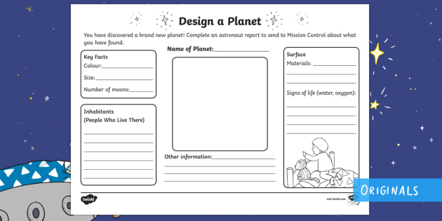 Design Your Own Planet Worksheet / Activity Sheet - Back to