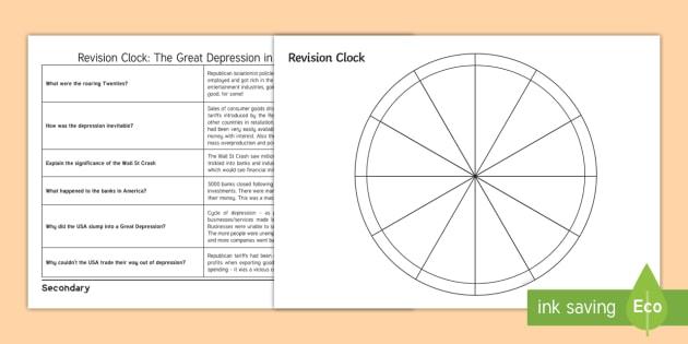 History Revision Editable Clock Template - gcse, ks3, history