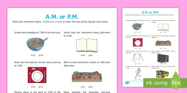 am or pm time worksheet morning afternoon day. Black Bedroom Furniture Sets. Home Design Ideas