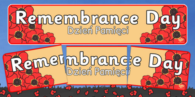Remembrance Day Banner Polish Translation - polish,  polish, world, war, one, first, remembrance day, poppies