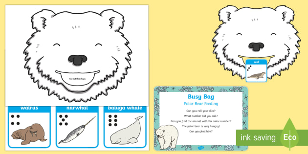 Polar Bear Feeding Posting Busy Bag Prompt Card and Resource Pack - Polar Regions, arctic, antarctic, dice, arctic animals, polar animals, dice, number recognition, cou