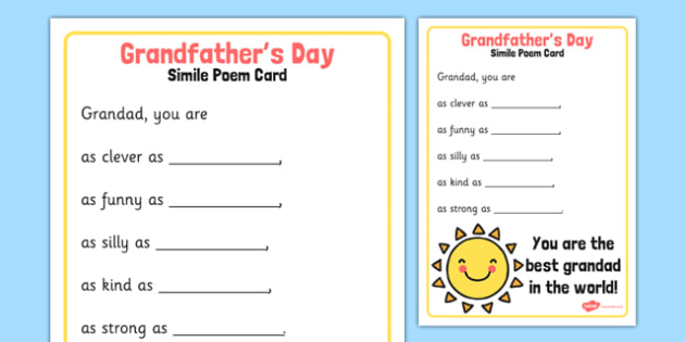 grandfather s day simile poem card grandfathers day simile