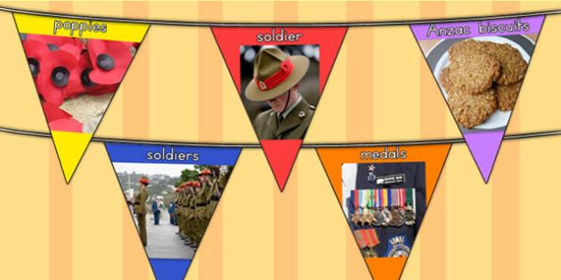 Anzac Day Photo Display Bunting - anzac display, war, remember