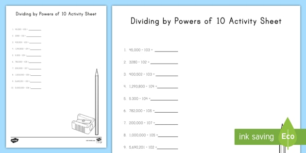 Dividing By Powers Of 10 Worksheet Activity Sheet Exponents
