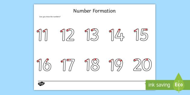 Number Formation Worksheet / Worksheet 11-20 - fine motor skills ...