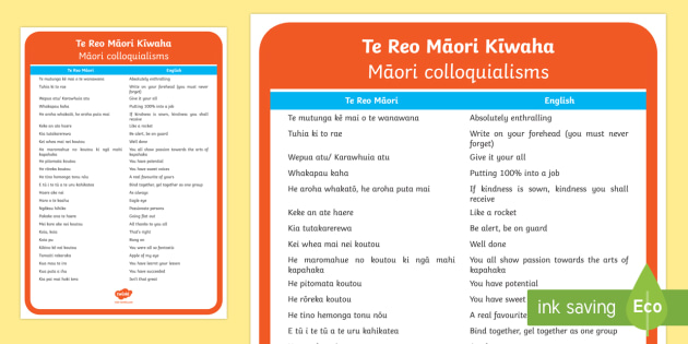 Te Reo Māori kīwaha A4 Display Poster Te Reo Māori/English - Māori Phrase Book, kīwana, kiiwaha, kiwaha, colloqualisims, idioms