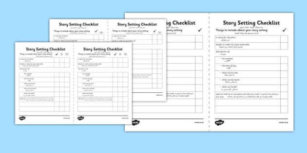 Story Setting Checklist Arabic Translation - arabic, story, setting, checklist, story setting