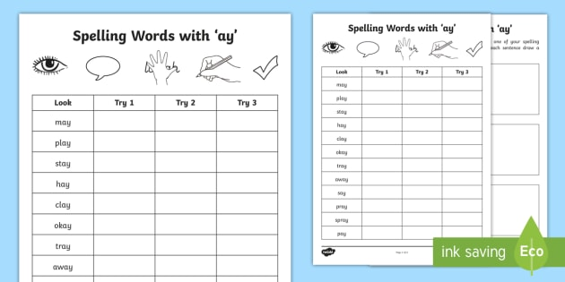 Spelling with 'ay' Worksheet / Activity Sheet - ay, vowel sounds ...