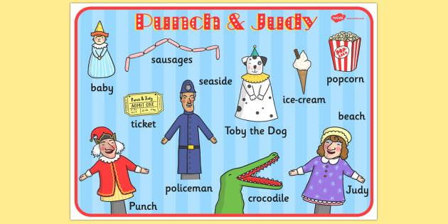 Punch and Judy Word Mat - visual aid, key words, writing aid