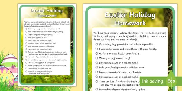 Easter Holiday Homework for Children Checklist
