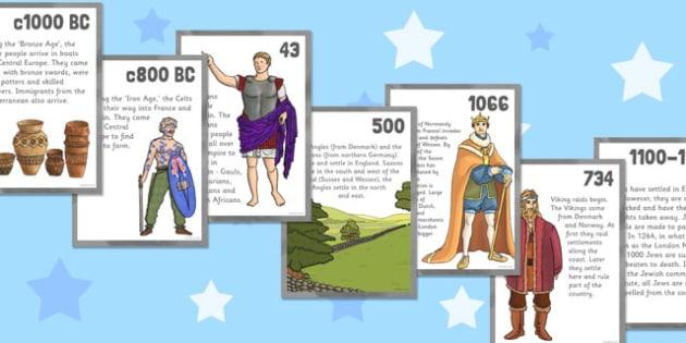 Britain: A Migration Timeline Cards - britain, migration, timeline
