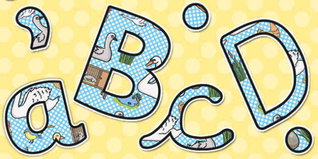 Ugly Duckling Themed A4 Display Lettering - display, lettering