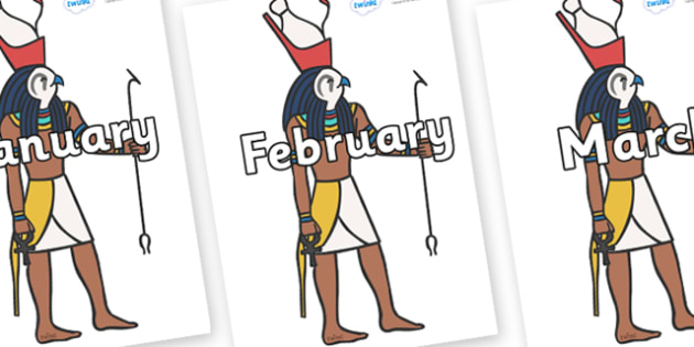 Months of the Year on Egyptian Gods - Months of the Year, Months poster, Months display, display, poster, frieze, Months, month, January, February, March, April, May, June, July, August, September