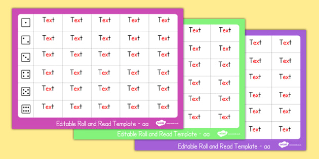 Roll and Read Editable Template - roll and read, editable, template, edit, roll, read
