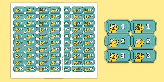 BBC Children in Need Raffle Role-Play Tickets