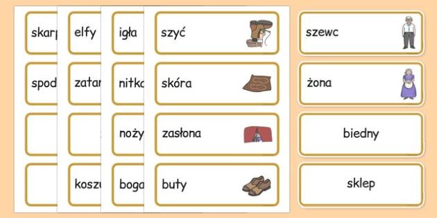 Karty ze słownictwem Elfy i szewc po polsku - baśnie, bajki