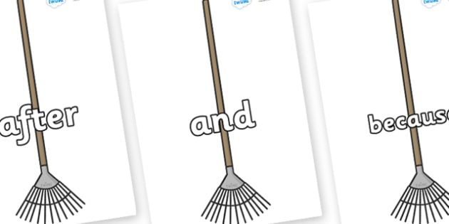 Connectives on Garden Rakes - Connectives, VCOP, connective resources, connectives display words, connective displays