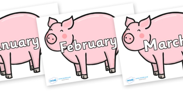Months of the Year on Chinese New Year Pig - Months of the Year, Months poster, Months display, display, poster, frieze, Months, month, January, February, March, April, May, June, July, August, September