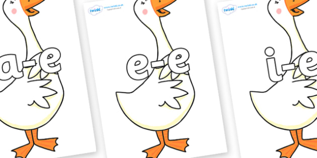 Modifying E Letters on Hullabaloo Goose to Support Teaching on Farmyard Hullabaloo - Modifying E, letters, modify, Phase 5, Phase five, alternative spellings for phonemes, DfES letters and Sounds