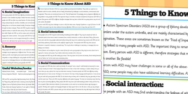 Five Things to Know About ASD Information Sheets - ASD, autism spectrum disorder, poster, display poster, information poster, ASD poster, ASD information, teaching aid
