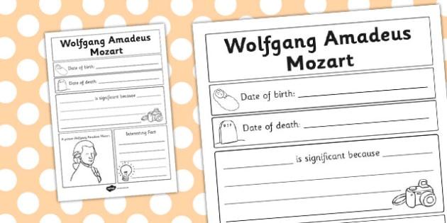 Wolfgang Amadeus Mozart Significant Individual Writing Frame