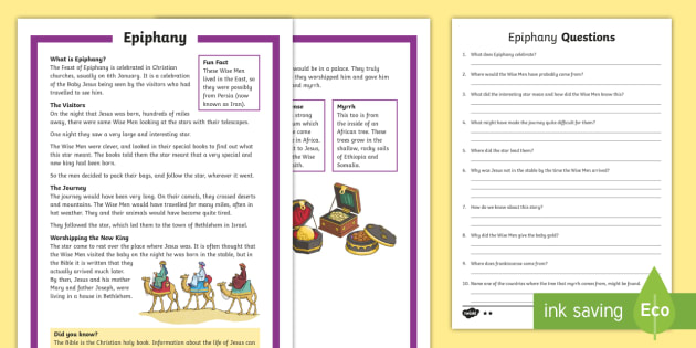 KS1 Epiphany Differentiated Reading Comprehension Activity ...