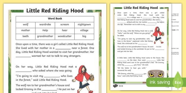 Little Red Riding Hood Traditional Tale Cloze Procedure Differentiated