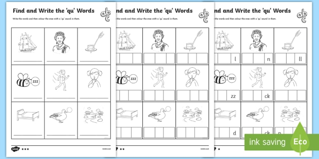 Find And Write Qu Words Phonics Worksheets Teacher Made