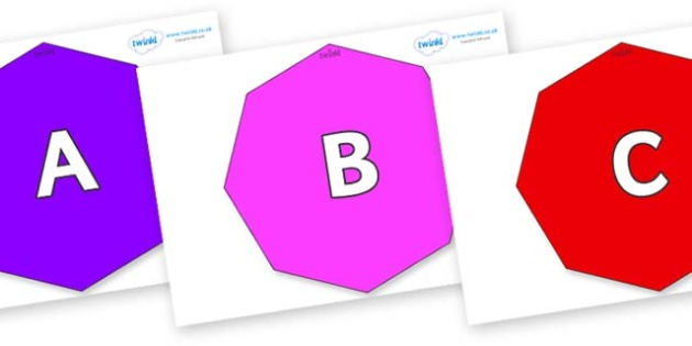 A-Z Alphabet on Octagons - A-Z, A4, display, Alphabet frieze, Display letters, Letter posters, A-Z letters, Alphabet flashcards