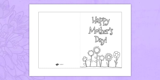 Mother S Day Card Template Colouring Design Mother S Day