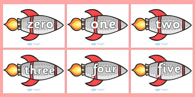 Number Word Rockets - Rocket, number name, space, topic,  foundation stage numeracy, Number recognition, Number flashcards, counting, number frieze, Display numbers, number posters, moon, stars, planet, planets