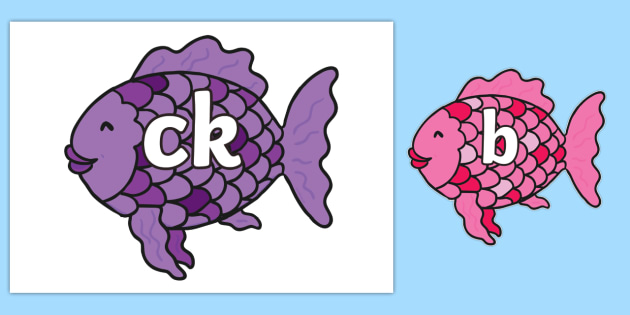 Phase 2 Phonemes on Fish to Support Teaching on The Rainbow Fish - Phonemes, phoneme, Phase 2, Phase two, Foundation, Literacy, Letters and Sounds, DfES, display