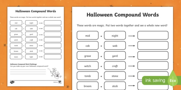 halloween compound word worksheet activity sheet worksheet
