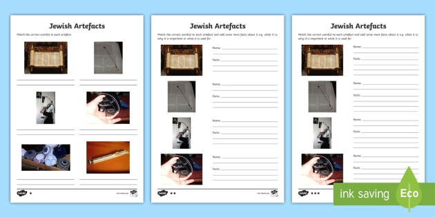 Jewish Artefacts Differentiated Worksheet Activity Sheets