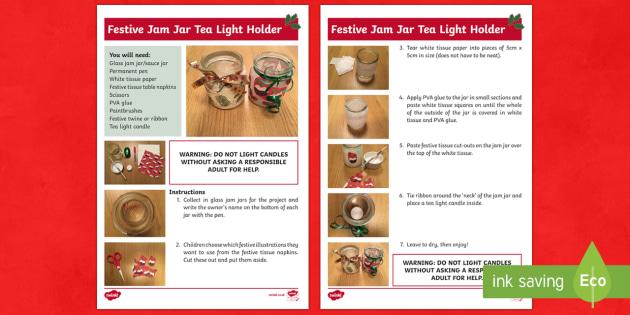 Festive Jam Jar Candle Holder Craft Instructions