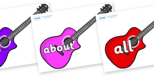 100 High Frequency Words on Guitars - High frequency words, hfw, DfES Letters and Sounds, Letters and Sounds, display words